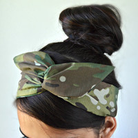 Multicam Dolly bow head band, Scorpion head band, hair bow, Save 15% at checkout with promo code: WANELO15