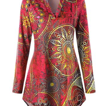 Plus Size Tribal Printed Tunic T-shirt