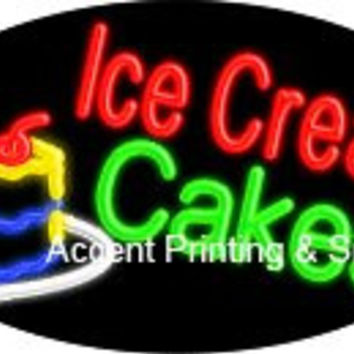 Ice Cream Cakes Flashing Handcrafted Real GlassTube Neon Sign