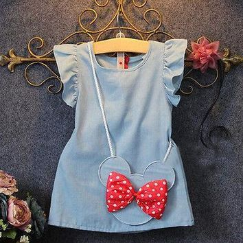 Baby Dress Toddlers Solid Mouse sleeveless + Bag