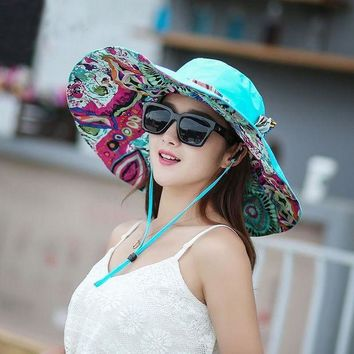 ESB1ON 2017 Hot Sale Summer Women Anti-UV Hats Collapsible Face Protection Beach Hat Wide Big Brim Adjustable Sun Hat S4