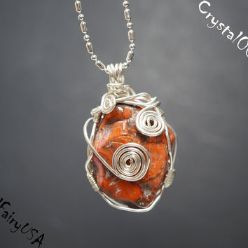 Wire Wrapped Rough Jasper Sterling Silver Necklace