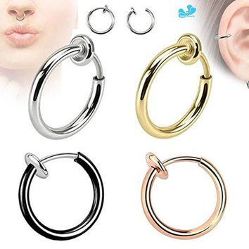 1Pc Steel Fake Nose Ring & Stud Lip Ear Nose Clip On Fake Piercing Nose Lip Hoop Rings Earrings Golden Rose Ball body jewelry
