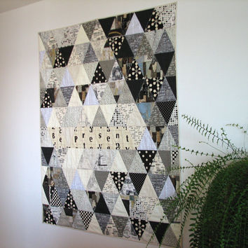 Modern Art Quilt, Lap Quilt, Triangle Quilt, Black and White