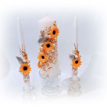 Sunflowers Unity Candles Personalized Unity Candles Set Spring Wedding. Wedding Candles Pillar Candle Centerpiece Decor Luxury Traditional