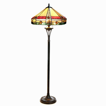 "Ridley, Tiffany-Style 2 Light Mission Floor Lamp 18"" Shade"