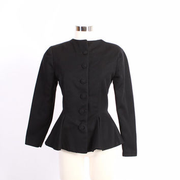 Vintage 50s BLAZER / 1950s Black Wool Tailored Gabardine Peplum Jacket S - M