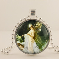 Fairy fantasy glass and metal Pendant necklace Jewelry.