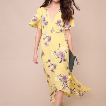 New Blooms Wrap Maxi Dress | SHOPLUNAB