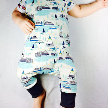 Organic baby clothes, baby boy harem romper, overall, winter baby clothes, indian teepee baby sweatsuit.