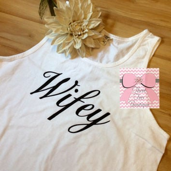 Wifey Comfort Colors Tank Top in Solid or Glitter Vinyl Bride Tanktop Monogrammed Tank  Top Monogrammed Gifts