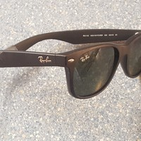 "Ray-Ban ""New Wayfarer"" Classic Black Designer Sunglasses Made in Italy RB Strap"