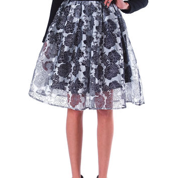 Black Roses Organza Midi Pleats Skirt