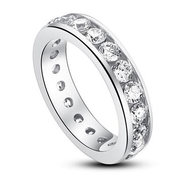 Channel set created diamond engagement ring, sterling silver