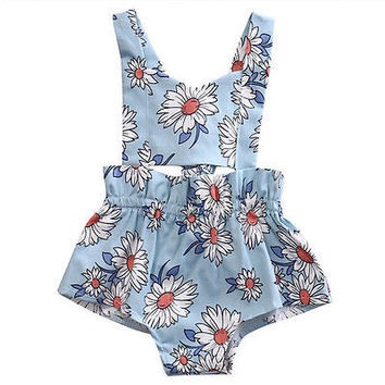 Sunflower Baby clothing 2017 Newborn Infant Baby Girl Floral Romper Jumpsuit Outfits Sunsuit Clothes