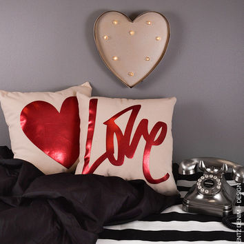 Graffiti Love - Natural Canvas Cotton Pillow Cover with Red Foil - Home Goods House ware - Decorative Pillow Cover