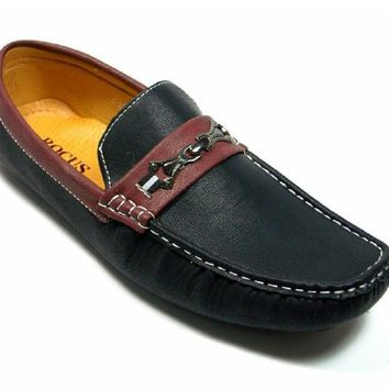 Mens Rocus Moccasin Two Tone Driver Loafers Shoes C-216 Black