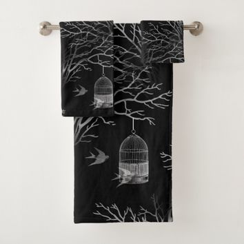 Vintage Birdcage Branches Swallows BlackTowel Set