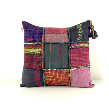 kantha cushion, kantha quilt pillow, kantha pillow case, ooak