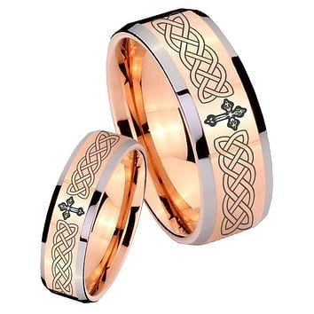 His Hers Celtic Cross Beveled Edges Rose Gold Tungsten Personalized Ring Set