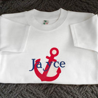 Anchor & Name Nautical Personalized  Childrens TShirt, Custom shirts, Ring Bearer Gifts, Toddler personalized, Newborn custom shirts, gifts