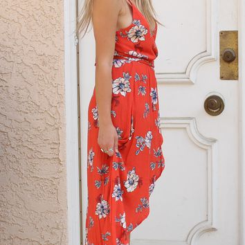 Red Aloha Floral Wrap Romper Maxi Dress