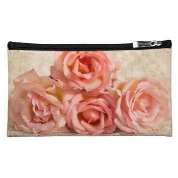 Pink roses on lace cosmetics bags