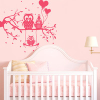 Wall Decal Vinyl Sticker Decals Art Decor Design Funny Owls hearts ballons brunch tree kids Children Nursery  Room Bedroom girls boy (r858)