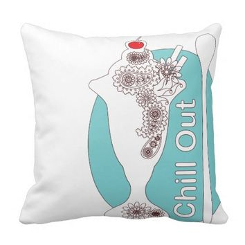 Chill Out - Paisley Ice Cream Sundae Girly Cute Throw Pillow
