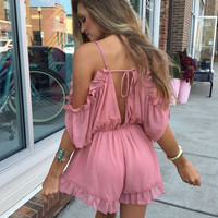 Stylish Cold Shoulder V-Neck Romper Spaghetti Strap Shaped Jumpsuit [6307537796]