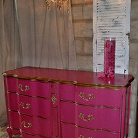 SOLD ~ Custom for Joanna M ~ Sold ~ Victoria's Secret PINK color Inspired French Provincial Dresser