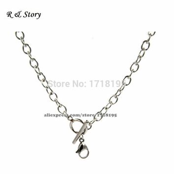 "Silver Stainless Steel 18"" O Shape Chunky Toggle Chain For Floating Locket LFH_019"