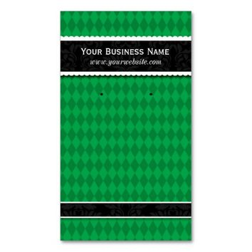 Custom Earring Cards Green Black Business Cards