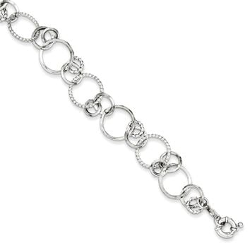 Sterling Silver 7.5 Inch Polished Rhodium Plated Circle Link Bracelet