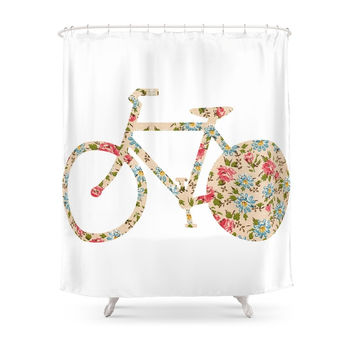 Society6 Whimsical Cute Girly Floral Retro Bicycle Shower Curtains
