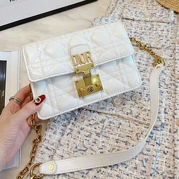 Dior Hot Sale Women Leather Metal Chain Shoulder Bag Crossbody Satchel White