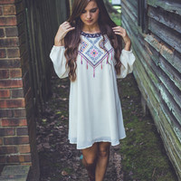Free-Falling Open-Shoulder Dress in Ivory