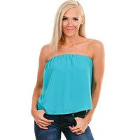 Turquoise Strapless Top