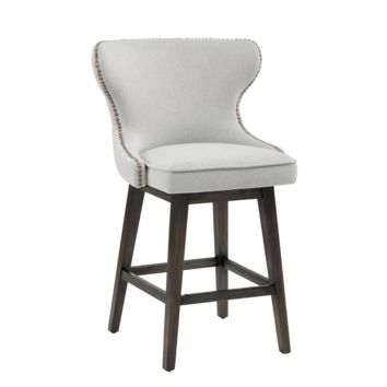 ANDREA LIGHT GREY FABRIC ANTIQUE GOLD NAIL-HEAD WITH DISTRESSED WOOD LEGS COUNTER STOOL