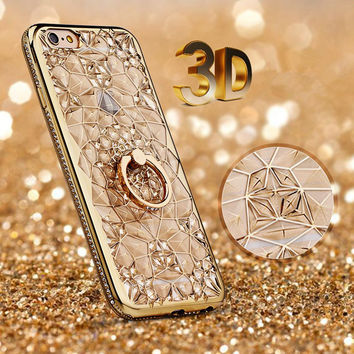 For iPhone 7 Case Luxury 3D Soft Plastic Case Coque for iphone7 Silicon Glitter Rhinestone Cover For iPhone 7 Plus Stand Cover
