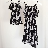 Summer style mother daughter dresses family look clothing mom and daughter dress chiffon  mommy and me clothes