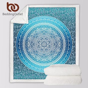 BeddingOutlet Sherpa Throw Blanket Turquoise Paisley Mandala Design Sherpa Fleece Blanket Super Soft Cozy Velvet Plush Blanket