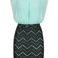 Chevron Lace Skirt Belted Dress - Cool Aqua Combo