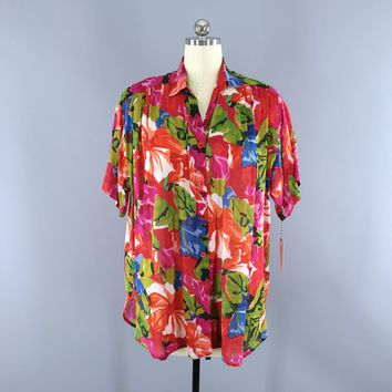 Vintage 1980s Floral Print Shirt / Indian Cotton Gauze Shirt