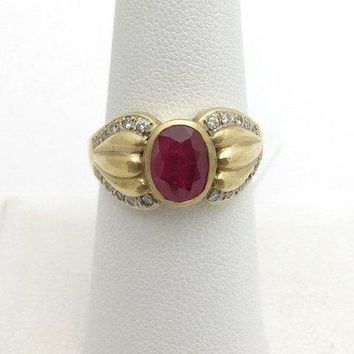 2 Carat Bezel Set Ruby Ring with Diamonds - 18K Yellow Gold