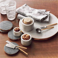 Brass-Edged Marble Coasters