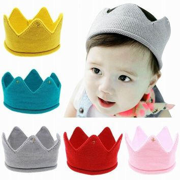 Lovely Fashion Infant Baby Birthday Crochet Knitted Photography Beanies Headband Newborn Caps