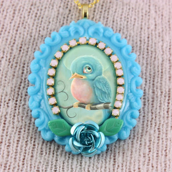 Sweet Bluebird Necklace by KitschSlapped on Etsy