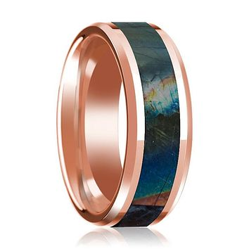 14K Rose Gold Mens Wedding Ring Inlaid with Spectrolite Beveled Edge Polished Design