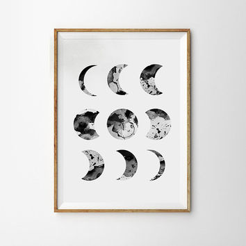 Moon Phases Super Moon Poster Watercolor Geometric Circles Art Modern decor Galaxy Sky Space Stars Print Astronomy Poster Dreamy luna phases